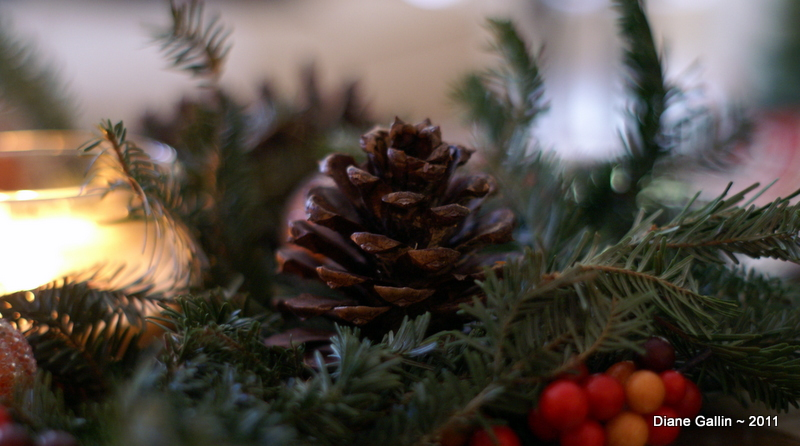 pinecone and candle